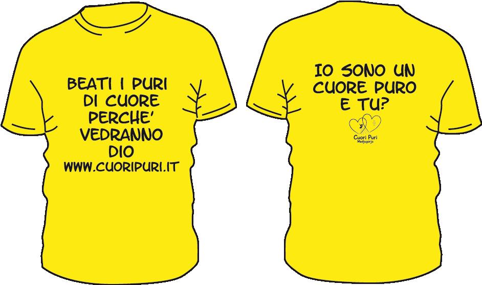 Maglietta colore giallo cuori puri - BEATI I PURI Maglietta colore giallo TG UNISEX: XS/S