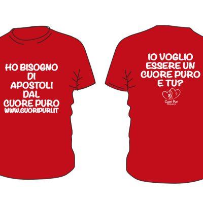 T-shirt APOSTOLI colore rosso scritta bianca - TG UNISEX: XS,S,M,L,