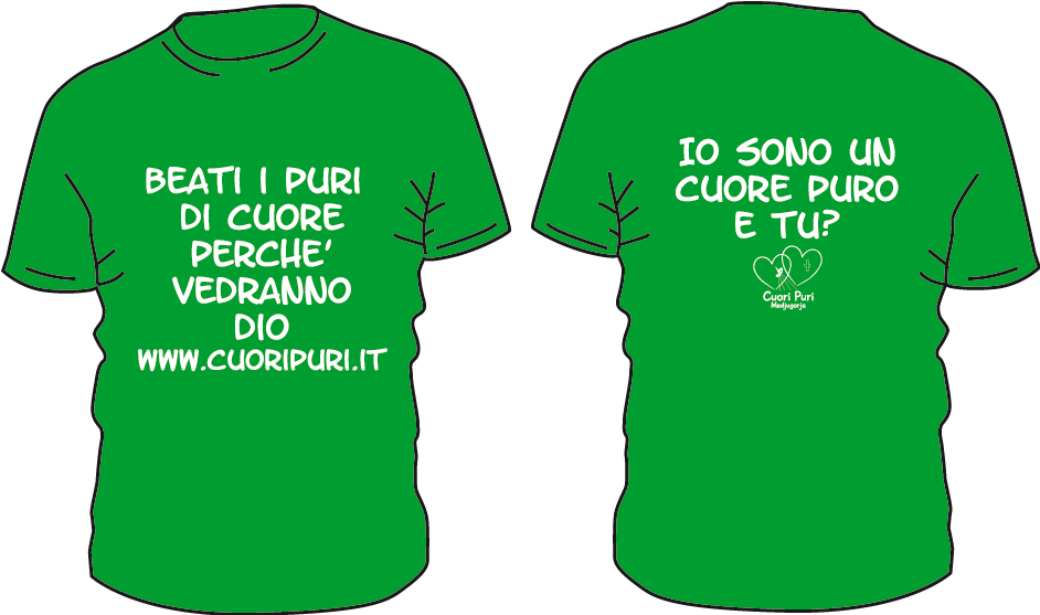 Maglietta colore verde cuori puri - BEATI I PURI