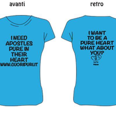T-shirt Inglese colore azzurro scritta nera - TG UNISEX: XS,S,M,L,XL