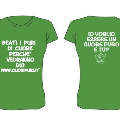 T-shirt colore verde scritta bianca - TG UNISEX: XS,M,L,