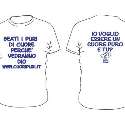 T-shirt colore bianco scritta blu - TG UNISEX: XS,S,M,L,XL